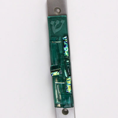 Mezuzah with Mezuzah Scroll in Aqua Blue